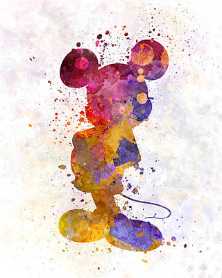 Spray Painting - Mickey Mouse In Watercolor by Pablo Romero