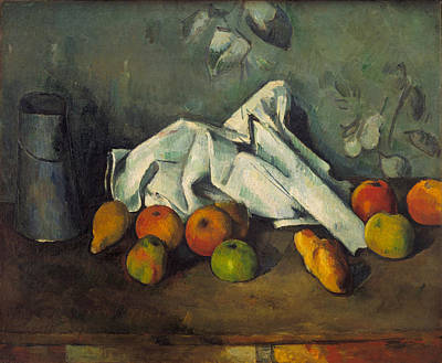 Table Cloth Painting - Milk Can And Apples by Paul Cezanne