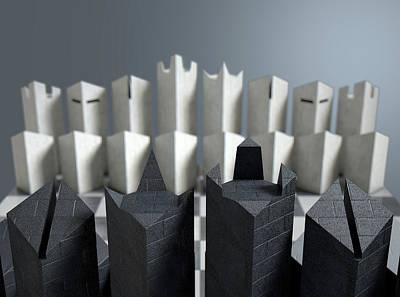 Game Piece Digital Art - Modern Chess Set  by Allan Swart