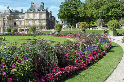 Food And Flowers Still Life Rights Managed Images - Montparnasse Gardens in Paris Royalty-Free Image by Carol Ailles