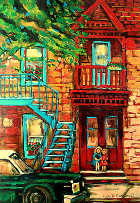 Wooden Stairs Painting - Montreal Paintings by Carole Spandau