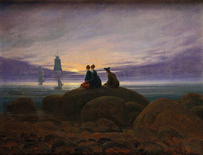 Moonrise Over The Sea Art Print