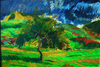 Autumn Landscape Drawing - Mt. Norwottuck And Apple Trees by Lorna Ritz