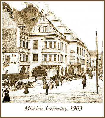 Photograph - Munich, Germany, Street Scene, 1903, Vintage Photograph by A Gurmankin