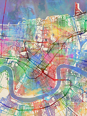 City Map Wall Art - Digital Art - New Orleans Street Map by Michael Tompsett