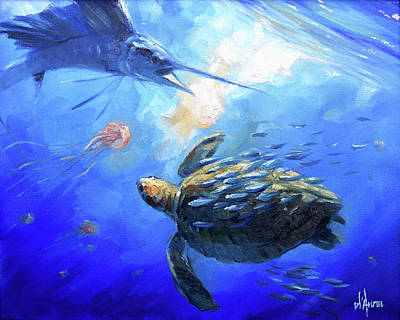 Seaturtle Painting - Sailfish And Turtle by Tom Dauria