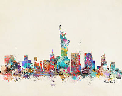 Colourfull Painting - New York City Skyline by Bleu Bri