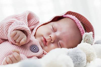 Girl Photograph - Newborn Baby Slepping On White Fur Blanket. by Michal Bednarek