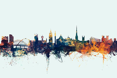 Great Digital Art - Newcastle England Skyline by Michael Tompsett