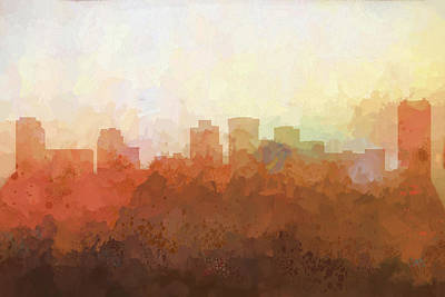 Digital Art - Norfolk Virginia Skyline by Marlene Watson