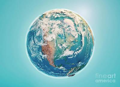 Cartography Digital Art - North America 3d Render Planet Earth Clouds by Frank Ramspott