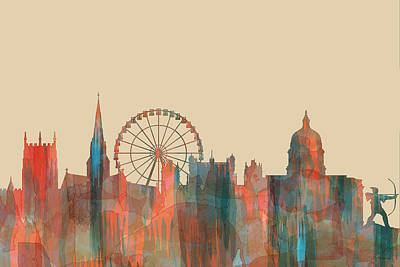 Digital Art - Nottingham England Skyline by Marlene Watson