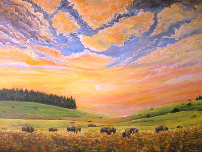 O Give Me A Home Where The Buffalo Roam Art Print by Connie Tom