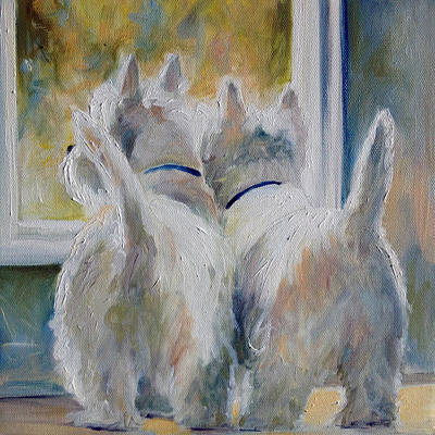 Westie Painting - 5 O'clock by Mary Sparrow