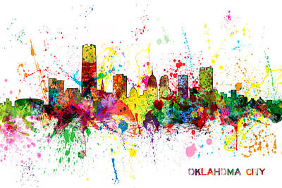 Oklahoma Digital Art - Oklahoma City Skyline by Michael Tompsett