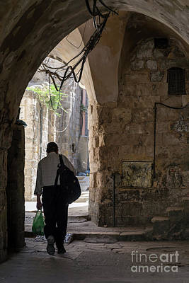 Jolly Old Saint Nick - Old Town Cobbled Street In Ancient Jerusalem City Israel by JM Travel Photography