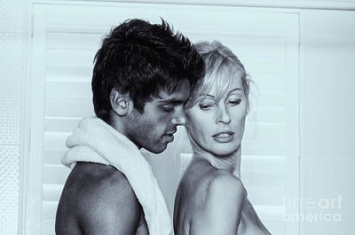 Photograph - Older Caucasian Blonde Woman Embracing Younger Man by Amyn Nasser