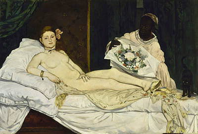 Bouquet Painting - Olympia by Edouard Manet
