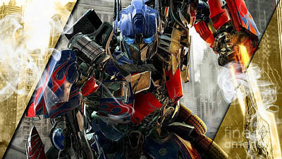 Mixed Media - Optimus Prime Transformers Collection by Marvin Blaine