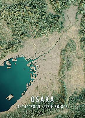 Japan Digital Art - Osaka 3d Render Satellite View Topographic Map by Frank Ramspott
