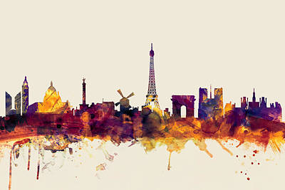 Urban Watercolor Digital Art - Paris France Skyline by Michael Tompsett