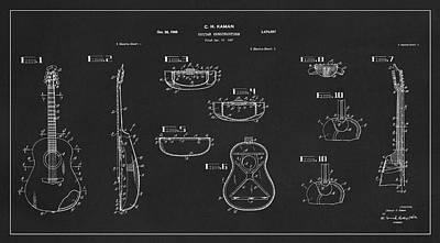 Charles Digital Art - Patent Drawing For The 1967 Guitar Construction By C. H. Kaman by Jose Elias - Sofia Pereira
