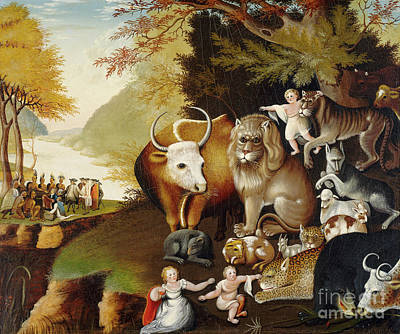 Pow Wow Painting - Peaceable Kingdom by Edward Hicks