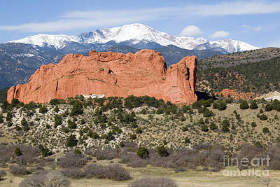Steven Krull Royalty-Free and Rights-Managed Images - Pikes Peak and Garden of the Gods Park in Colorado Springs in th by Steven Krull