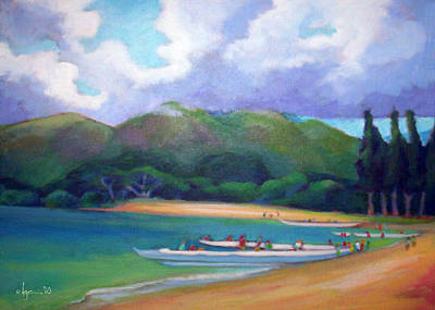 Outrigger Painting - 5 P.m. Canoe Club by Angela Treat Lyon