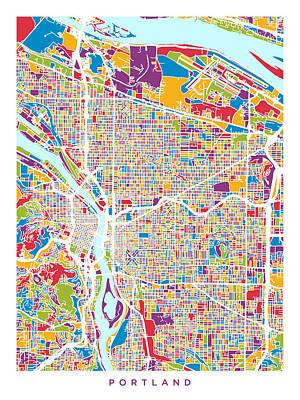 Portland Oregon City Map Art Print