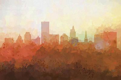Digital Art - Providence Rhode Island Skyline by Marlene Watson