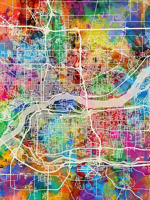 Quad Cities Street Map Art Print by Michael Tompsett