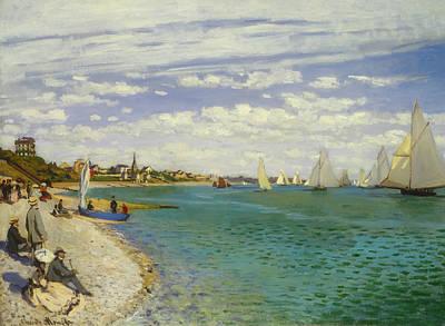 Sailboat Ocean Painting - Regatta At Sainte-adresse by Claude Monet