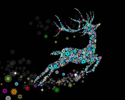 Cards Digital Art - Reindeer Design By Snowflakes by Setsiri Silapasuwanchai
