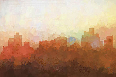 Digital Art - Reno Nevada Skyline by Marlene Watson