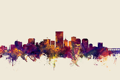 Richmond Virginia Digital Art - Richmond Virginia Skyline by Michael Tompsett