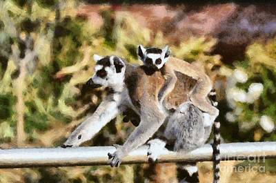 Painting - Ring Tailed Lemur With Baby by George Atsametakis