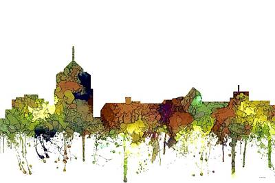 Digital Art - Roanoke Virginia Skyline by Marlene Watson