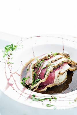 Photograph - Roast Beef Modern Fusion Gourmet Food Cuisine Meal by Jacek Malipan