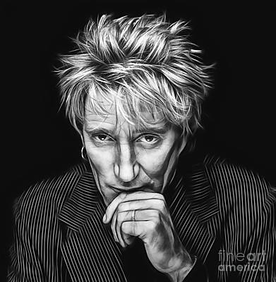 Rod Stewart Collection Art Print by Marvin Blaine