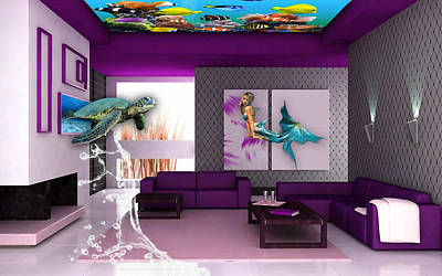Sea Turtles Mixed Media - Rooftop Saltwater Fish Tank Art by Marvin Blaine