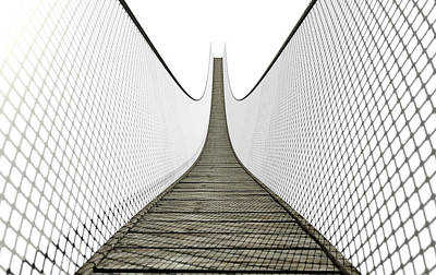 Rope Bridge On White Art Print by Allan Swart
