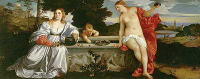 Silk Painting - Sacred And Profane Love by Titian
