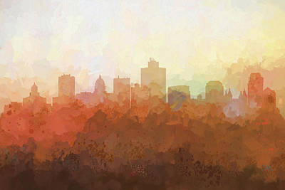 Digital Art - Salt Lake City Utah Skyline by Marlene Watson