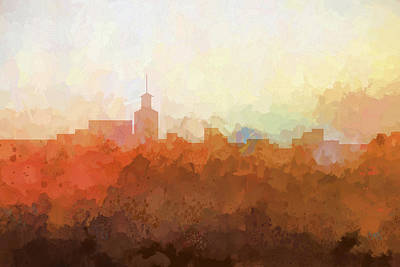 Digital Art - Santa Fe New Mexico Skyline by Marlene Watson