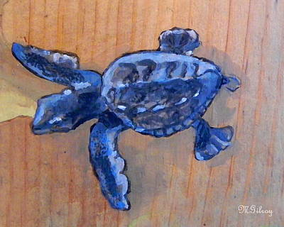 Green Sea Turtle Painting - Sea Turtle Baby by MGilroy