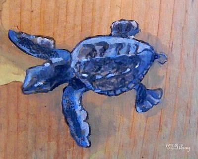 Ocean Turtle Painting - Sea Turtle Baby by MGilroy