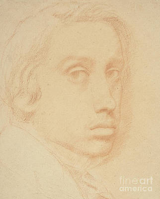 Portraits Drawing - Self-portrait by Edgar Degas