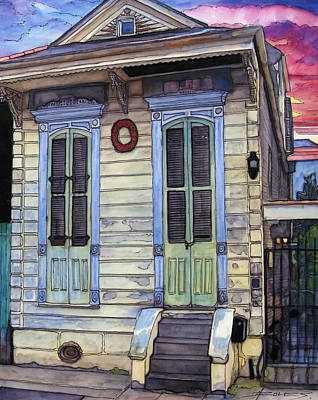 Shotgun House Painting - 5  Shotgun House With Red Wreath by John Boles