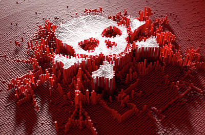 Numbers Digital Art - Skull And Cross Bones Cloner by Allan Swart